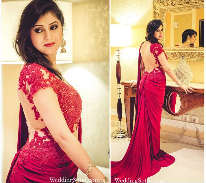 Beautiful Hand Embroidered Saree Gown