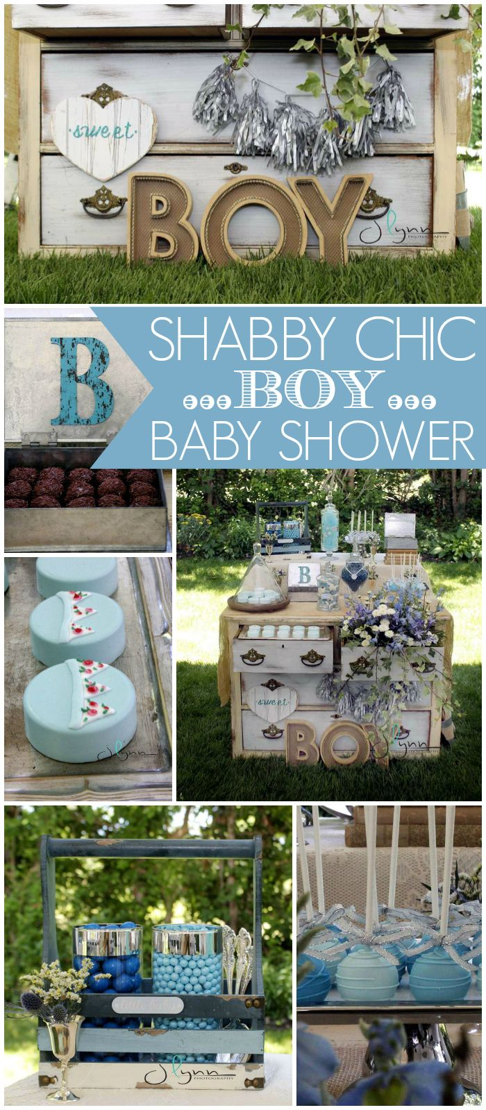 What a gorgeous shabby chic party with a candy table on a vintage dresser! See more party ideas at CatchMyParty.com!
