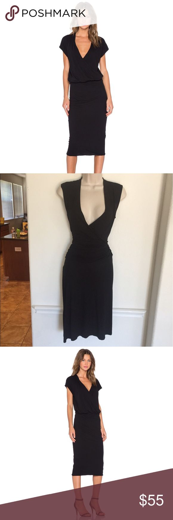 James Perse Black Shirred Dress James Perse Black Shirred Dress  size 2 (medium) Cinched waist - Faux Wrap top James Perse Dresses Midi