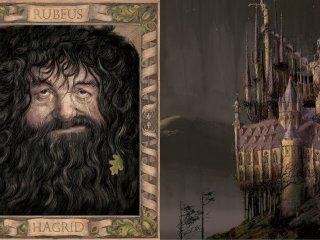 Hagrid and Hogwarts Chamber of Secrets Jim Kay ilustrovaná edícia tajomná komnata harry potter