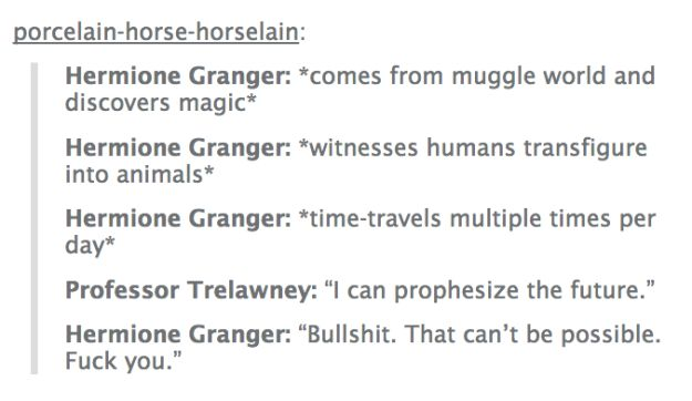"Hermione probably should've been nicer to Trelawney. | 21 Hilarious ""Harry Potter"" Tumblr Posts That'll Make You Realize Some..."