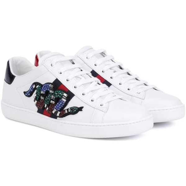 cfb92165 Gucci Ace Leather Sneakers ($835) ❤ liked on Polyvore featuring ...