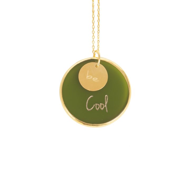''Be Cool ''Gold plated silver chain and plexiglass necklace