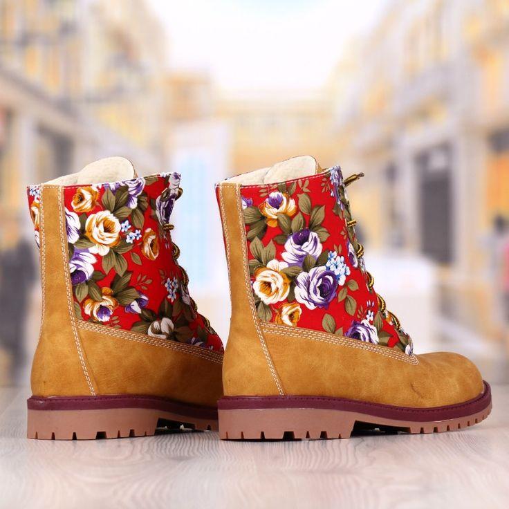 Ghete Dama Camel Cu Imprimeu Floral Cod: 318p