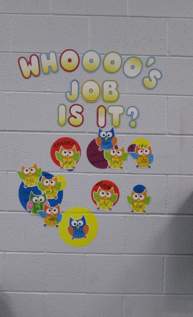 Classroom Decoration Charts For Kids : Who s job is it chart for kids owl classroom