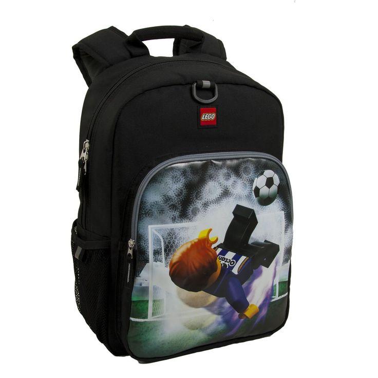 Kids Black Lego Soccer Backpack Ball Sport White Blue Active Kick Goal Net School Bag Strap Back Polyester