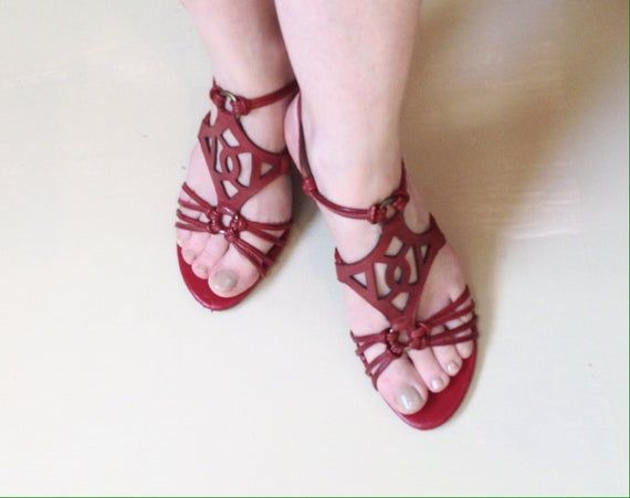 Carlo's by Santana leather sandals® 3″/vintage 1990/red leather straps/Boho chic/formal outfit – ♥♥♥ Stylish & Trends ♥♥♥