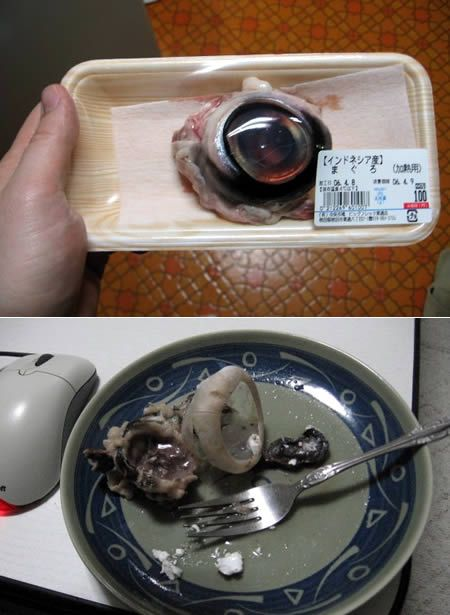 15 Strangest Foods - Oddee.com (strange foods, bizarre foods) this my friends is the grosest of all to me.....really ppl eat tuna fish eye balls!!