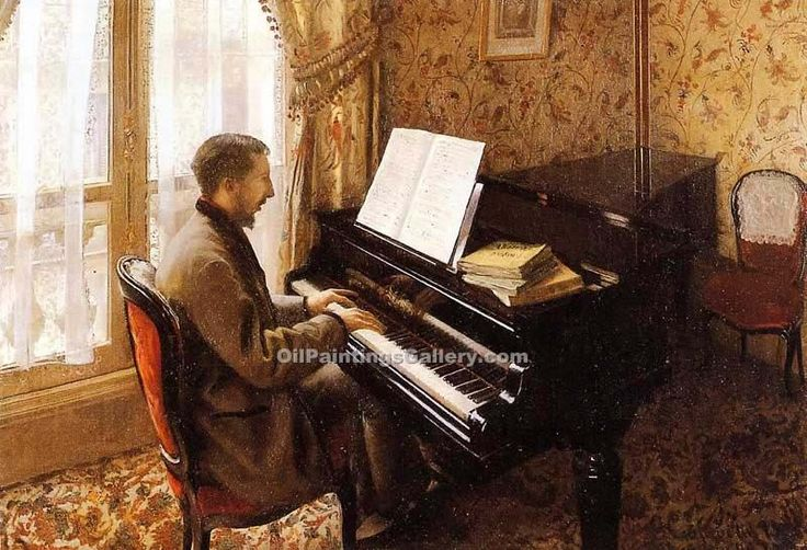 Young Man Playing the Piano by Gustave Caillebotte