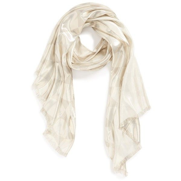 Women's kate spade new york 'deborah logo' bow print lame scarf ($220) ❤ liked on Polyvore featuring accessories, scarves, fringe shawl, metallic scarves, metallic shawl, fringe scarves and kate spade