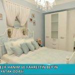 mavi yatak odası dekorasyonu,şömineli yatak odası