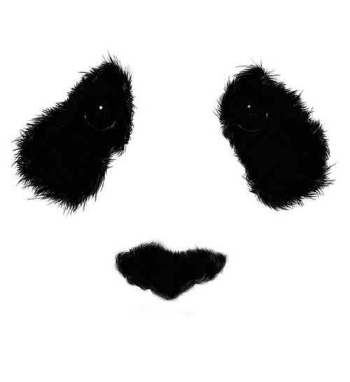 Inkblot panda face on a white background. Really effective and a nice idea. The detail in the eye must have been drawn on after to give it a realistic effect.