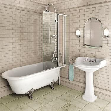 Burlington - Hampton 1700mm Showering Bath with Legs - Right Hand Option at Victorian Plumbing UK
