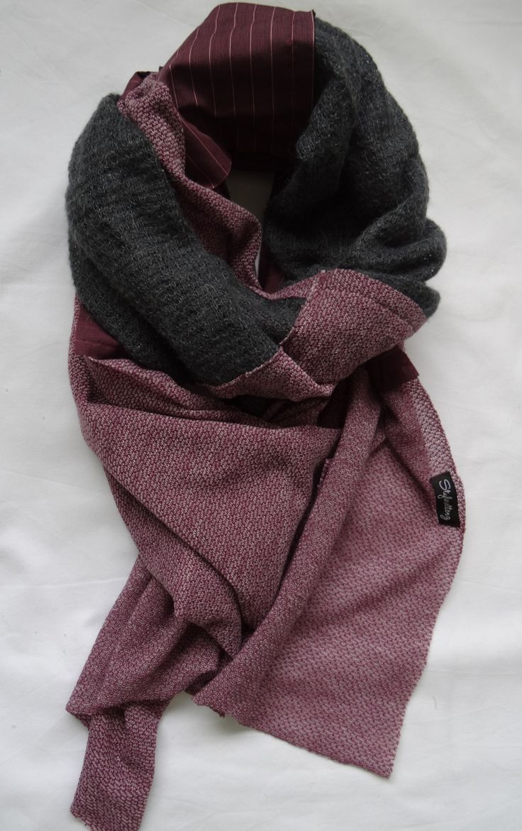 Patch Me Up in Burgundy and Gray Scarf by Stylesetterz Handmade Scarves @ www.facebook.com/stylesetterzhandmadescarves