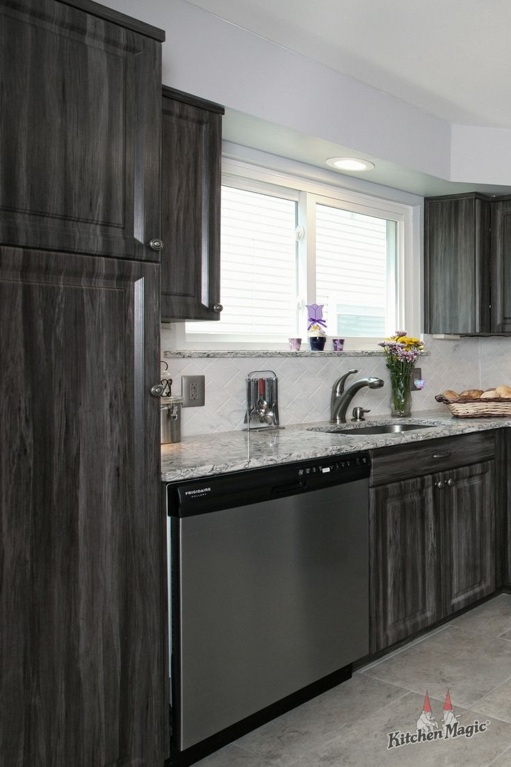 This Kitchen Features Cabinets In Our Exquisite Merapi Color With Stylishly Distressed Finish Kitchen Cabinets Laminate Kitchen Cabinets Grey Kitchen Cabinets