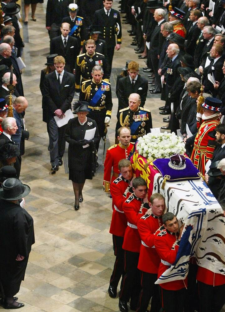 The funeral of Britain's Queen Mum (April 9, 2002). HM Queen Elizabeth II; Prince Philip, Duke of Edinburgh; Prince William of Wales; Prince Charles of Wales; Prince Henry (aka: Harry) of Wales; Prince Andrew, Duke of York; Prince Edward, Earl of Wessex .....