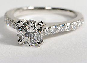 Pavé Diamond Engagement Ring in Platinum #BlueNile