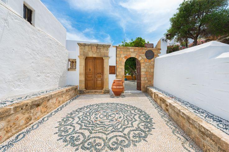 Entrance of Luxury Villa Eftihia in Lindos