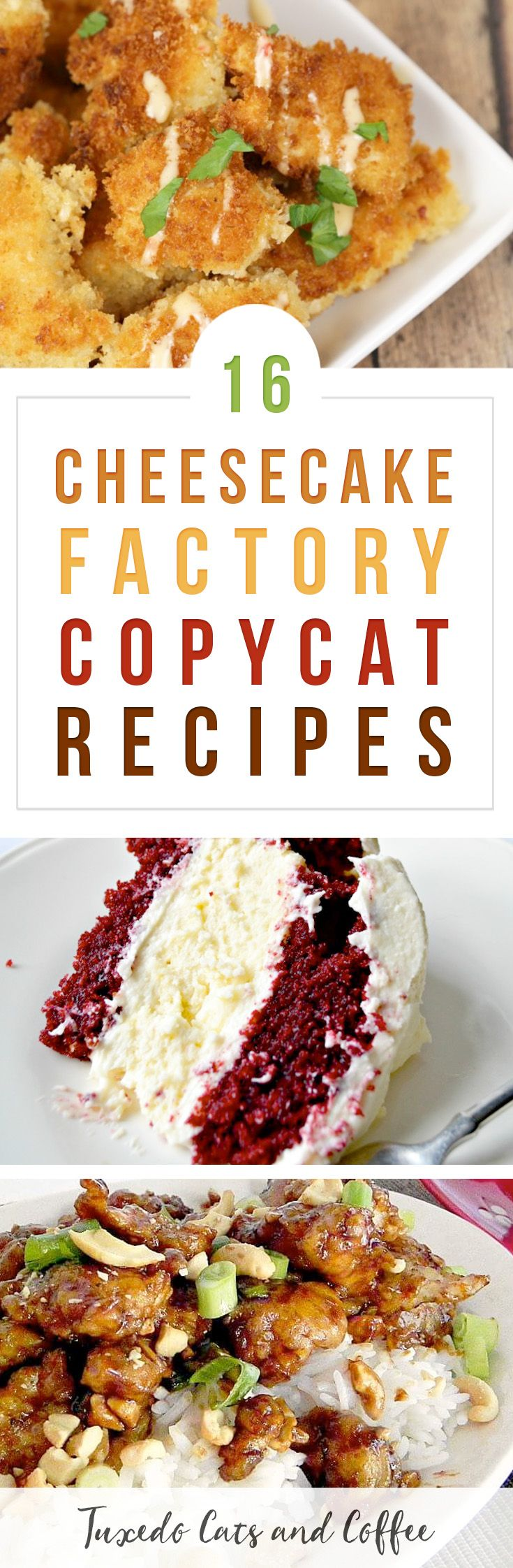 I LOVE Cheesecake Factory!  It's definitely one of my favorite chain restaurants, but I can't eat there every day. ;) So here are 16+ Cheesecake Factory copycat recipes to bring your favorite recipes home! #copycatrecipes #restaurantrecipes