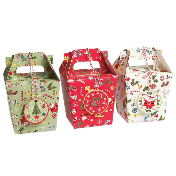 Decorative Boxes Uk Set Of 3 Panettone Christmas Carnival Gift Boxes With Tags