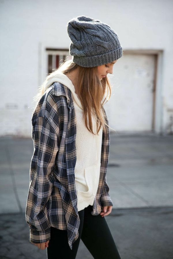 (Hooded sweater under flannel.)