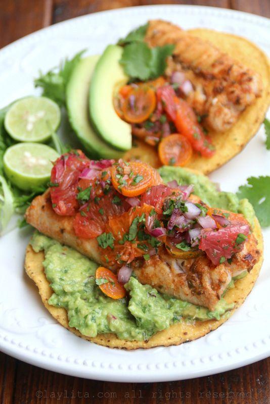 Citrus fish tostadas with guacamole and citrus habanero salsa