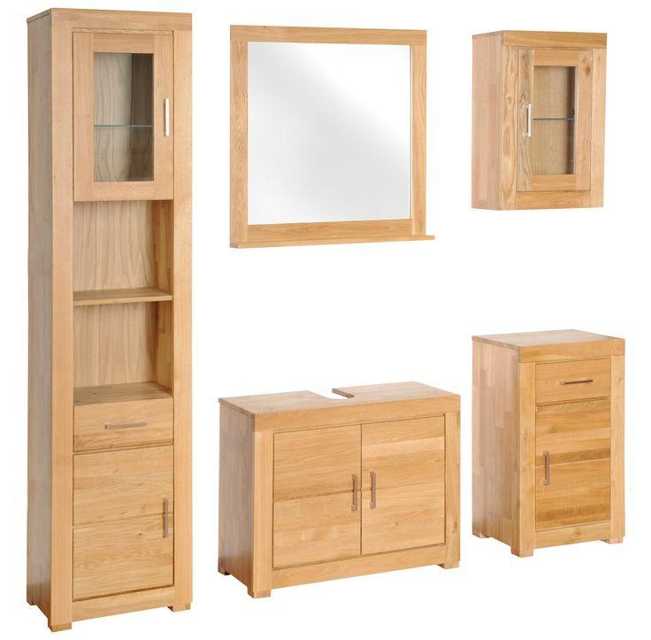 Bad Möbel, Set 5-tlg., Wildeiche, lackiert, Verona