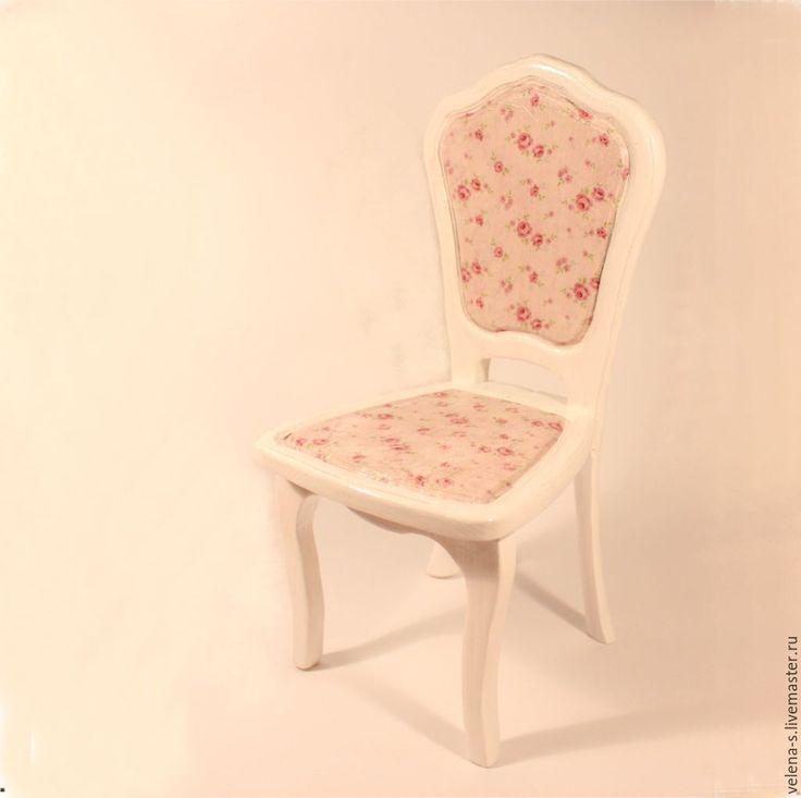 Купить Стульчик для куклы №3 - бледно-розовый, белый, розы, стульчик, стульчик для куклы
