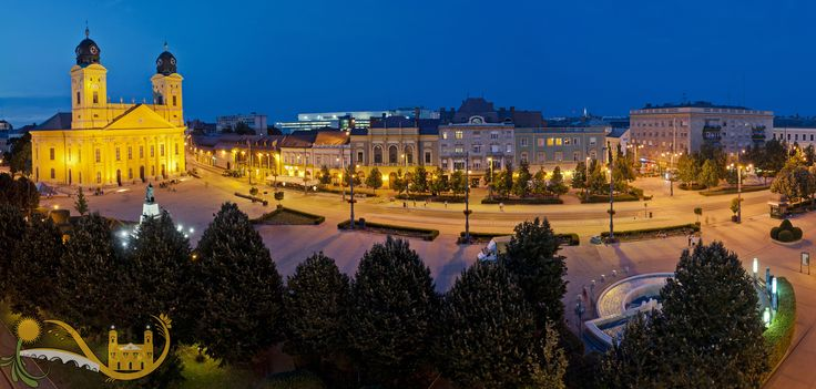 Debrecen downtown night panorama