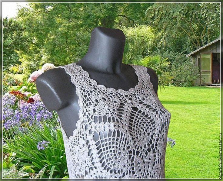 Buy Beach tunic Flower - white, floral, tunic crochet, beach tunic, openwork tunic