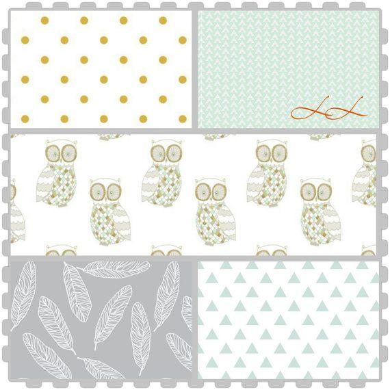 Custom woodland crib bedding set! Grey, mint gold!! Create a nursery you love including crib sheet, crib skirt, changing pad cover!