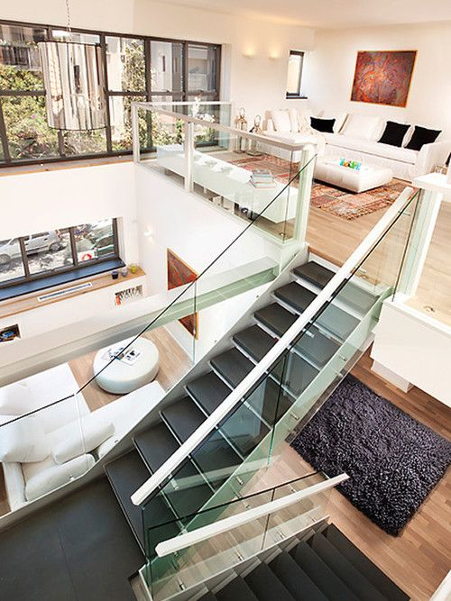 Modern loft, open plan | http://homechanneltv.com/ #lofts #loftideas #loftdesigns  Maybe if you took out 3rd bedroom upstairs and opened it up?