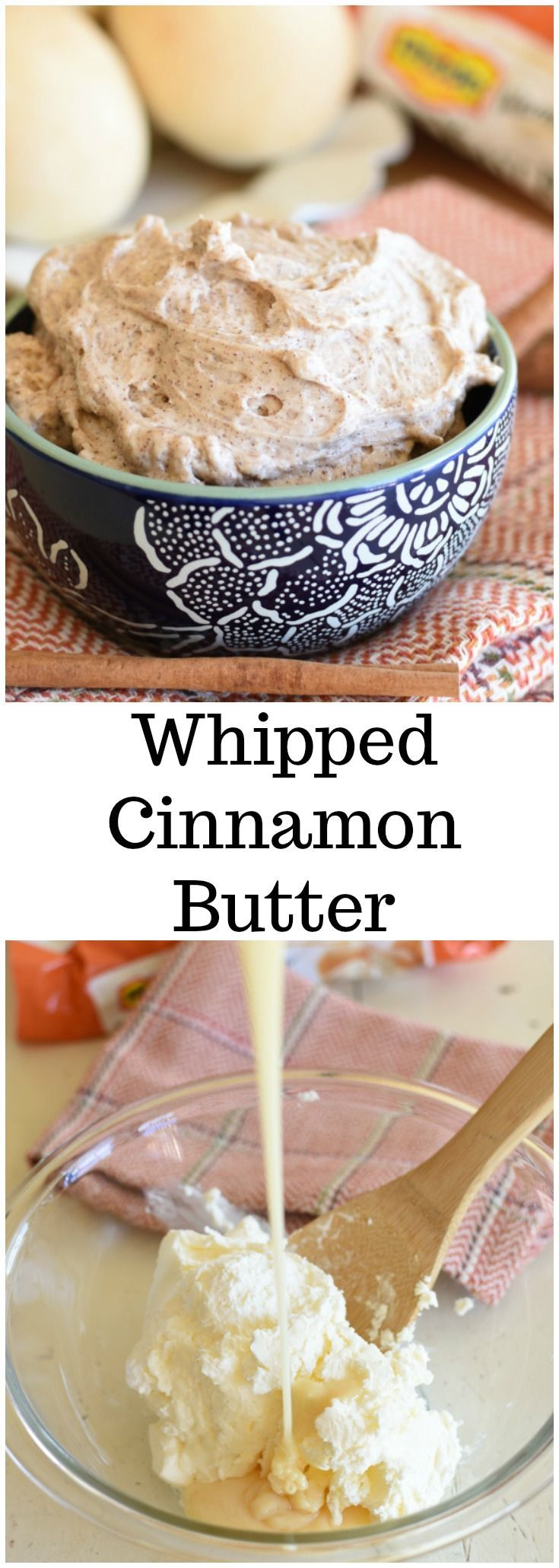 Whipped Cinnamon Butter! This is a copy cat Texas Roadhouse Butter recipe! 4 ingredients! Serve it with Rhodes Rolls! #ad #Rhodes #FrozenDough