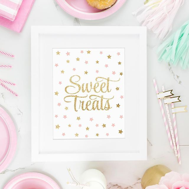 Sweet Treats Party Sign for Dessert Table - Twinkle Little Star Baby Shower Girl Birthday, Blush Pink Gold Glitter Party Signs - SprinkledDesigns.com