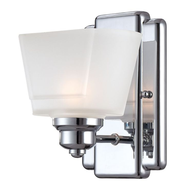 Modern Sconce Wall Light with White Glass in Chrome Finish at Destination Lighting