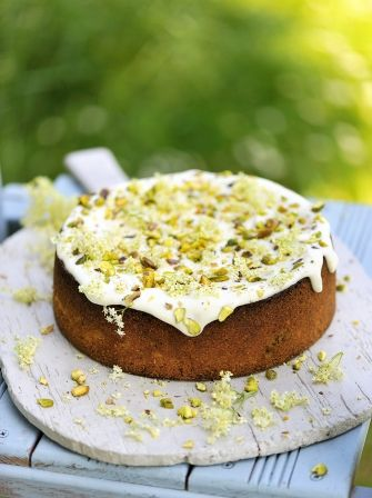 Pistachio, yoghurt & elderflower cake   Jamie Oliver