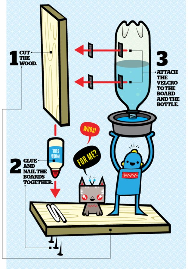 Self-Filling Pet Water Bowl | DIY Pet Ideas #DIYready http://diyready.com/diy-pet-projects-recipes/