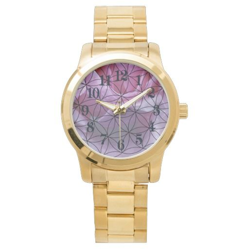 Pink rose and the flower of life wrist watch
