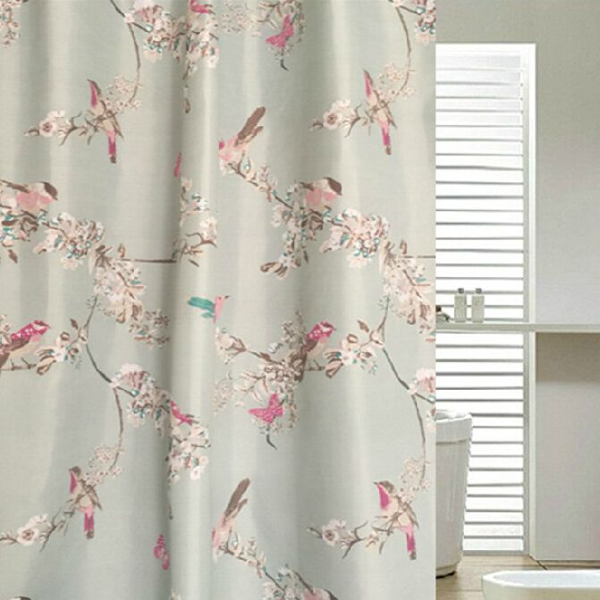 Shabby Chic Blue Floral/Bird Luxury Shower Curtains