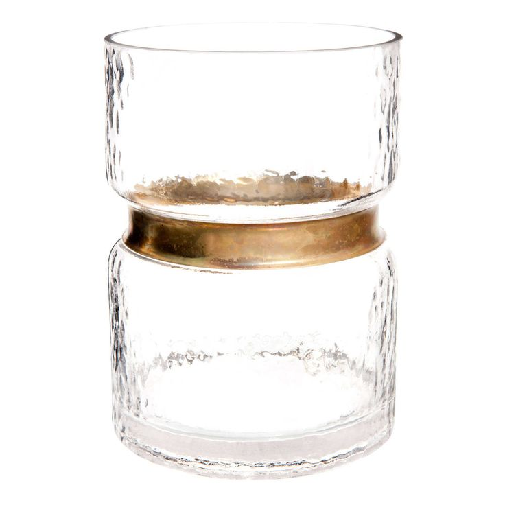 Niedrige Vase aus Glas und Messing H 19 cm
