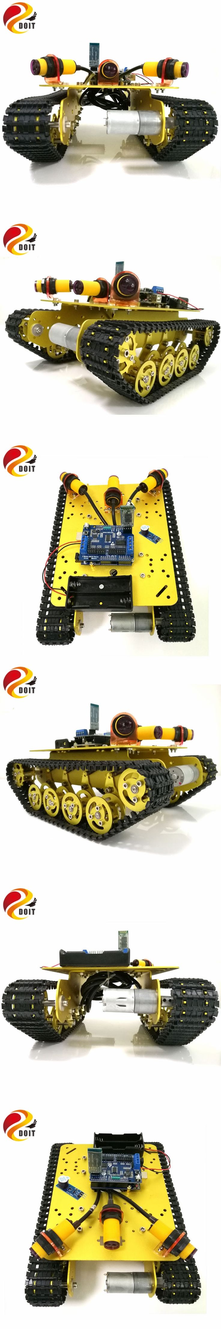 DOIT TS100 Bluetooth Control Obstacle Avoidance Robot Crawler Tank Car Chassis with Shock Absorption for Modification by Phone