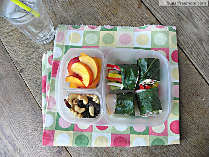 Collard Green Mock Sushi Rolls Meal-To-Go    2 servings of Collard Green Mock Sushi Rolls, sliced in half      1 peach, pitted, sliced      1 ounce cashews      1 ounce raisinsCollard Green