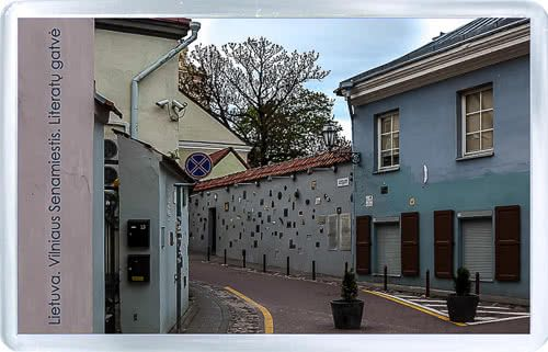 Acrylic Fridge Magnet: Lithuania. Vilnius Old Town. Literatu Street