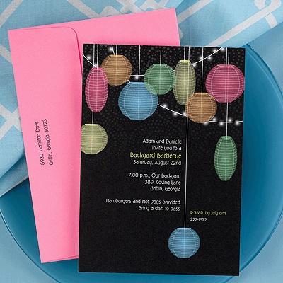Lantern Summer BBQ or Birthday Invitations by Carlson Craft!  Click pic to order!