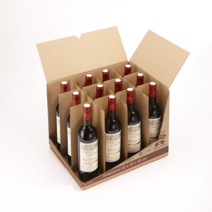 «1001 cartons de déménagement» поставляет оригинальные коробки для упаковки и хранения 12 бутылок. Коробки изготовлены из 4 миллиметрового  гофрокартона. Размер коробки 40×30×30 см. Коробка выдерживает вес в 20 кг. Конструкция коробки — четырехклапанная с оригинальной крышкой: два продольных клапана имеют прорези для автоматической фиксации. В торцевых стенках коробки прорезаны две ручки для переноски. На коробке нанесены одноцветной печатью манипуляционные знаки и бланки для внесения…
