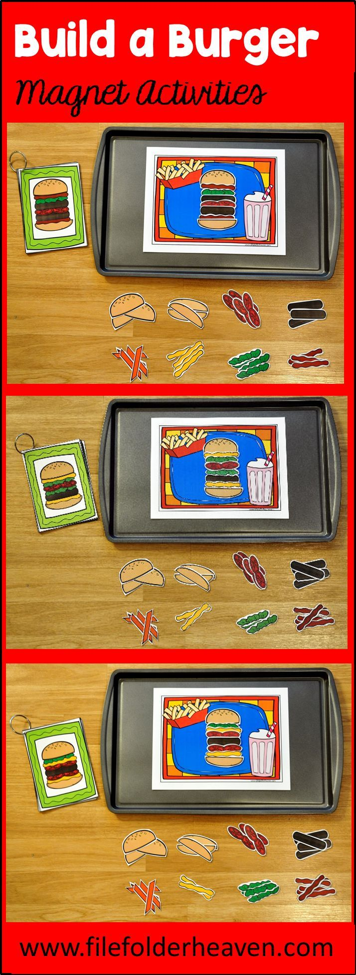 """These Build a Burger Center Activities can be set up as cookie sheet activities, a magnet center or completed as cut and glue activities. This activity includes: 1 background, 12 build a burger example cards, and a big set of """"build a burger"""" building pieces for creative building (all in color).  In this activity, students work on visual discrimination skills, recognizing same and different, and replicating a model."""