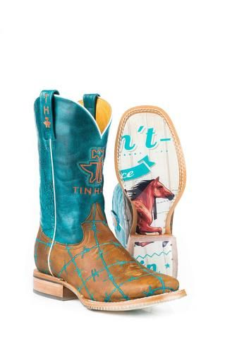 Tin Haul Boots Ladies Tan Leather Wild & Free Barbed Wire Cowboy