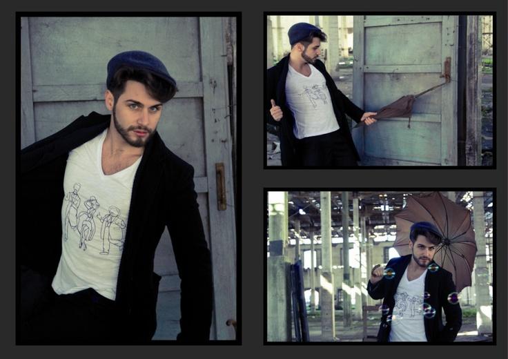 tuo tua t-shirt, man collection, Marilyn Monroe and Stanlio  model: Vincenzo Palatiello, photographer Gianvincenzo Nastasi