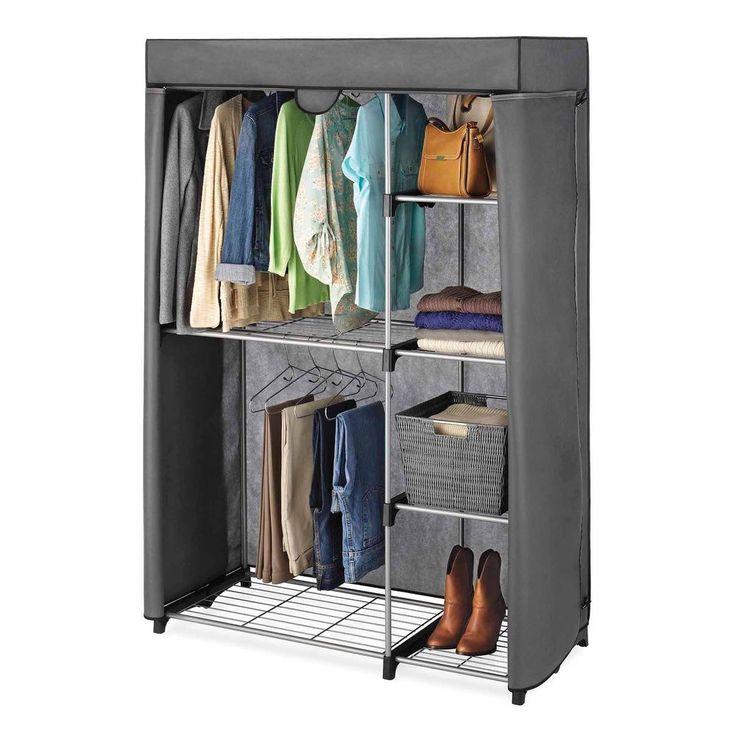 Portable Wardrobe Closet Rods Shelves Rack Garments Clothing Bedroom Storage NEW #nonbranded