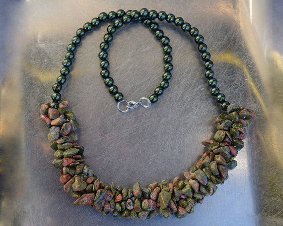 SALE from 30USD to 20 USD-Unakite chips (semi-precious stone) and metalic green pearls necklace